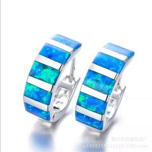 925 silver fire opal pierced small hoops NWT